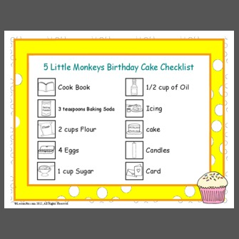 5 Little Monkeys Birthday Cake Checklist