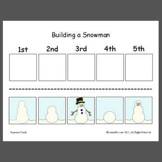 sequencing worksheets for building a snowman