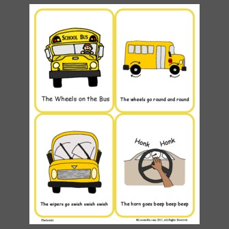 Wheels On The Bus Flash Cards