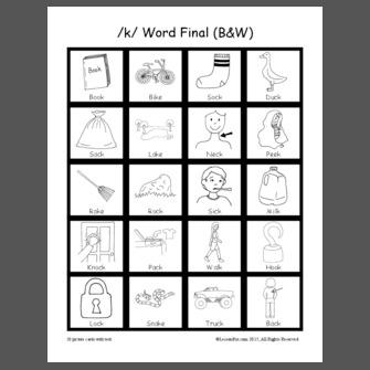 /k/ Word Final (B&W)