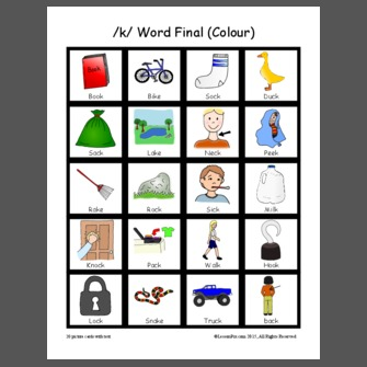 /k/ Word Final (Colour)