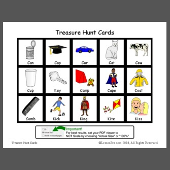 Treasure Hunt Cards: Word initial /k/