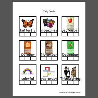 3 Syllable Words Tally Cards