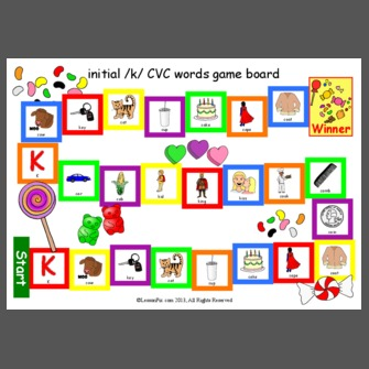 initial /k/ CVC words game board