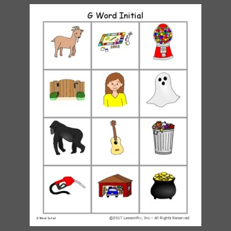 Words That Start With Letter G For Preschool