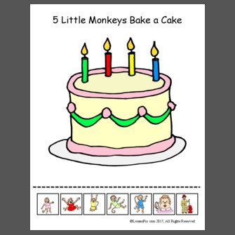 Incredible 5 Little Monkeys Bake A Cake Personalised Birthday Cards Vishlily Jamesorg