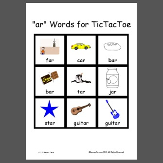 Printables Ar Words ar words for tictactoe tictactoe