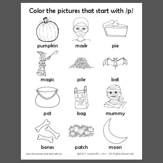 Color the pictures that start with /p/