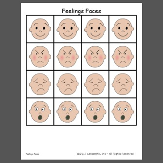 Children Feelings Faces and Labels Clip Art Set 1 Chirp