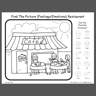 find the picture feelingsemotions restaurant - Feelings Coloring Book