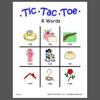 R Words Tic Tac Toe