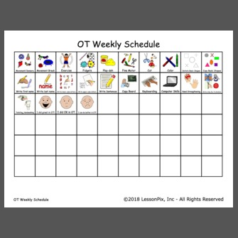 Ot Weekly Schedule