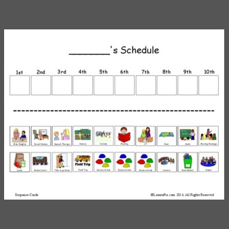 Visual schedule for Kindergarten/ESE inclusion