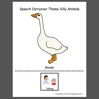 Speech Carryover Theme Silly Animals