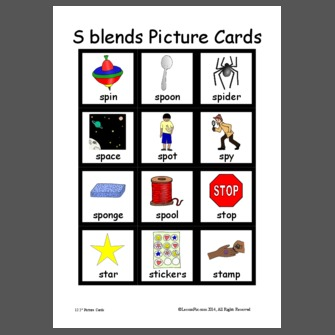 S Blends Picture Cards