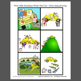 Five Little Monkeys Wash the Car - Story Sequencing