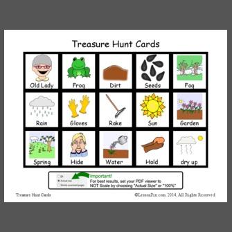 Old Lady...Frog Treasure Hunt Cards