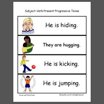 Subject-Verb Present Progressive Tense - PictureAndWords