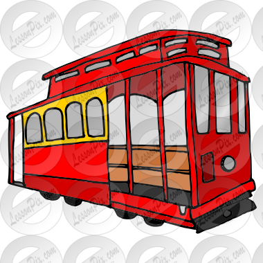 Trolley Picture for Classroom / Therapy Use - Great Trolley Clipart