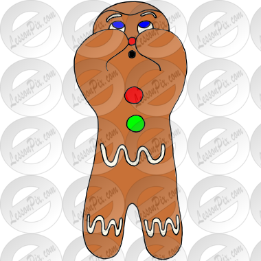 Shy Gingerbread Man Picture for Classroom / Therapy Use - Great ...