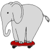elephant on skateboard Picture