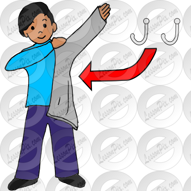 putting on jacket clipart