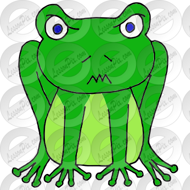 Frog angry. Picture for classroom therapy