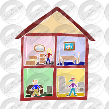 Dollhouse Stencil For Classroom Therapy Use Great Dollhouse Clipart